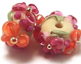 Honeydew Pink Gilded Floral Spacers