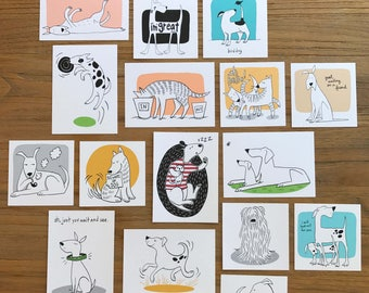 Collection of Tiny Art Prints Cute Funny Dog Cartoon Illustration - Set of 16