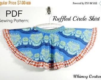 SALE Ruffled Circle Skirt Sewing Pattern sizes 3m through 8 girls PDF Instant