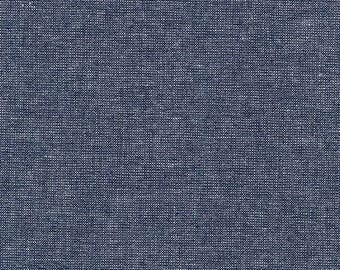 Robert Kaufman Fabric, Essex Yarn Dyed Metallic, E105-1232 Midnight, 50% Linen, #176