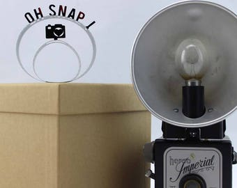 Oh Snap! - Film Reel Gift Packaging Bow - Pop Up Letters Word Loop - Repurposed from Movie Film Strips - Photographer Gift - Camera