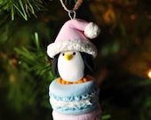 Handcrafted Clay Christmas Ornament - Santa Penguin Atop French Macarons