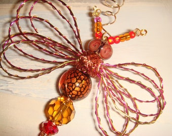 "My #9112 Red Owl Bug-Eyed Alien Fluttering Dragonfly!..Pretty LW poked eye bead - Unique! Ornament! home decor! Size 3.5""Wx4""L"
