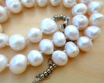 Pearls beads, fresh water pearls, 10mm Natural white 12mm-14mm