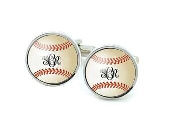 Monogram Baseball Cufflinks, Wedding Cufflnks, Sports cufflinks, groomsmen cufflinks, bachelor gifts, yankees cufflinks, gift for men