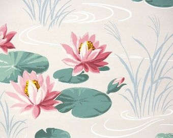 1940s Vintage Wallpaper by the Yard - Pink Water Lily Bathroom Wallpaper with Pink Lilies on White