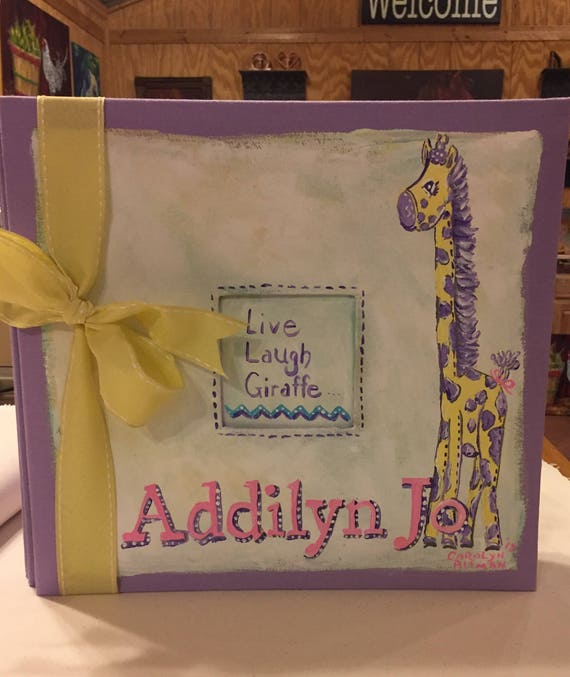 Live, Laugh...Light Purple Giraffe Baby Memory Book with Zig Zag Chevron Stripes and soft pastel colors