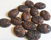 18 x 13mm Puff Oval Carved Scarab Leopardskin Jasper Beads