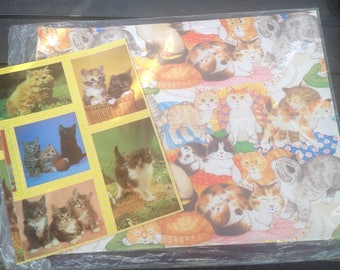 Vintage 80s Kitty Cat Gift Wrap Wrapping Paper