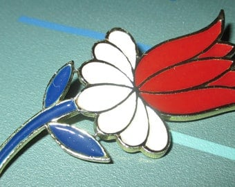 Vintage CORO Red White and Blue Enamel Tulip Flower Pin
