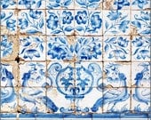 "Blue and white tile wall art, Lisbon Portugal tiles print, birds floral art, ""Lisbon Tiles Three"" fine art photography print"
