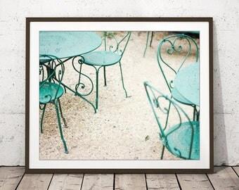 """Fine Art Photography - Mint Green Wall Art - Metal Chairs - Dining Room Decor - Beige Cream Kitchen Wall Art - Spirals """"Green Chairs"""""""