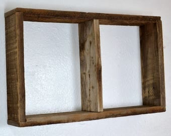 Rustic shadow box wall shelf reclaimed wood