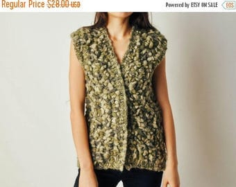 ON SALE Vintage Green Textured Sweater Top