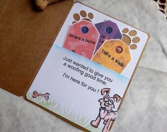 Handmade Birthday Card: dog to human, coupons, brown, blue, original verse, birthday, guy, gal, complete card, handmade, balsampondsdesign