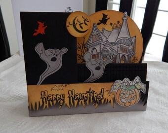 Handmade Halloween Card: Happy Haunting, step card, greeting card, brown, orange, humor, complete card, handmade, balsampondsdesign