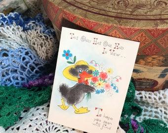 Vintage Greeting Cards never used Get Well Soon Card Hallmark Bird Duck Flowers made in USA -Unused with Envelope
