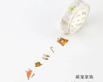 Kawaii Animal Masking Tape •  Woodland Critters • Shiba Inu • Kitty Cat Washi Tape (LF15-6908)
