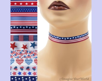 Custom PATRIOTIC Choker - 3/8 or 5/8 inch Independence Day Necklace USA Red White Blue 4th of July American Flag America (10 15 16 17 18 mm)