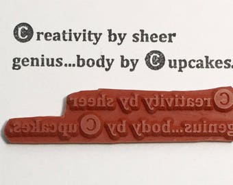 Creativity By Sheer Genius Body By Cupcakes - Altered Attic Rubber Stamp - CLEARANCE - Funny Art Craft Creative Foodie Humor Quote Greeting