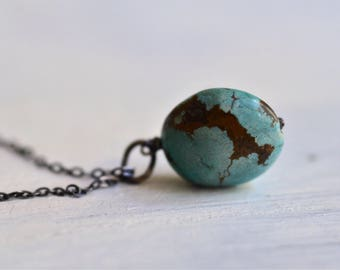 Blue Turquoise Necklace - Arizona Turquoise Necklace - Nugget Necklace - December Birthstone Necklace - Oxidized Sterling Silver Necklace