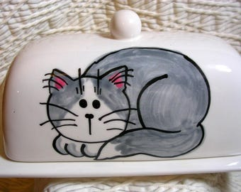 Pottery Butter Dish With Gray Cat Handmade Original by Grace M Smith