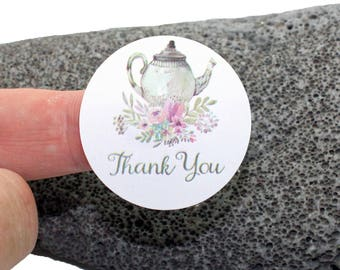 Thank You Sticker, Tea Pot Thank You Stickers, Tea Theme, Tea Party, Thank you stickers, Wedding Favor Tag,