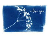 NEW Cyanotype I Love You Greeting Card, Anniversary Card, Love Greeting Card, Blue and White Card