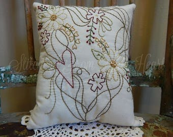 Decorative Throw Pillow - Hand Stitched Pillow - Flowers - Gardener - Hearts