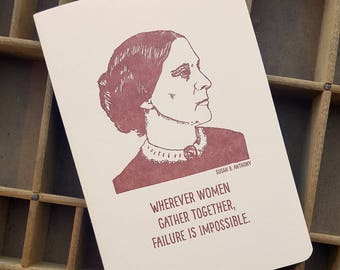 letterpress Susan B. Anthony handmade notebook