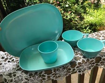 Set of 5 Pieces of Vintage Aqua Texas Ware Dishes