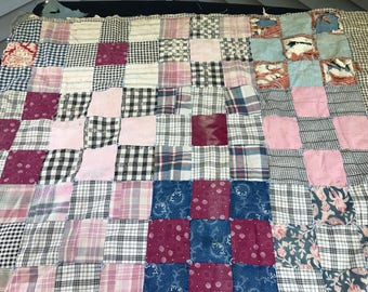 Vintage Hand Tied Early Fabrics Nine Patch Cutter Quilt Piece with Blue Cotton Backing