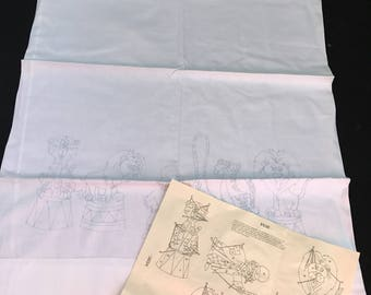 Vintage Single Orphaned Springmaid White Muslin Stamped for Embroidery Circus Print Pillowcase