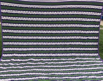 Vintage Hand Crochet Very Large Purple, Green and Off White Stripes Bedspread or Coverlet
