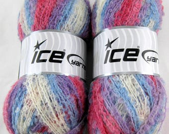 2 Skeins ICE Yarn Boucle Mohair Light Variegated