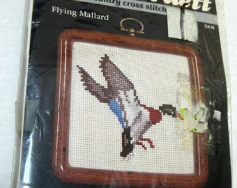 Flying Mallard Cross Stitch Kit Vintage Dale Burdett Frame Included