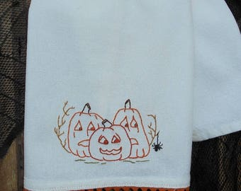 Hand Embroidered Scared Little Pumpkins