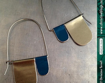 Old Gold and Shimmery Prussian Blue--Upcycled Tin Earrings