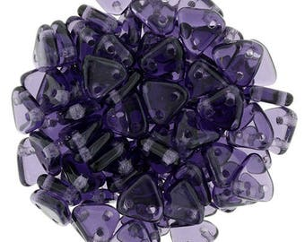 CzechMates Glass Two Hole Triangle Beads 6mm - Transparent Tanzanite Purple  -Starman Czech Pressed Glass Bead - pick your gram weight