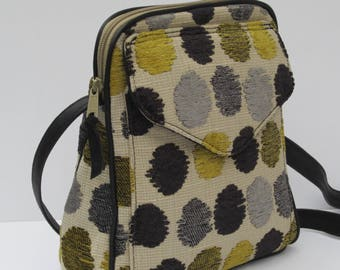SHOULDER BAG  Zots Dots Tapestry Fabric with Black Leather Trim