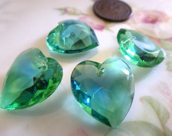 3 Vintage Emerald/Sapphire Givre, Two Tone Glass Heart Pendants, Heart Drop, Top Drilled, Flat Surface, 18x17mm, 3 pieces