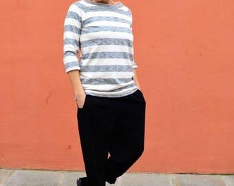 ON SALE 3/4 sleeve sweatshirt,organic cotton sweatshirt,stripes sweatshirt,slouchy sweatshirt,women's clothing,sweatshirt