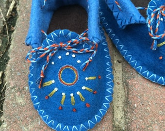 Blue Moccasin Booties