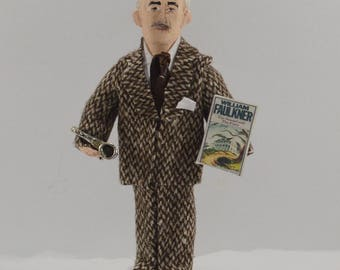 William Faulkner Writer Doll Miniature Art Collectible Classic Literature Author