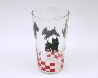 Vintage Scottish Terrier Glass Tumbler Water Glass