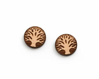 8 pcs Tree of Life Wood Charm, Carved, Engraved, Earring Supplies, Cabochons (WC 340)