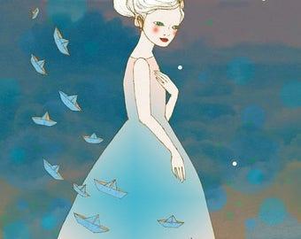Sale Paper Dreams,  illustration art print of original drawing