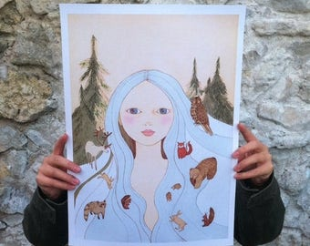 """Sale Large print of Forest girl A3 format 11""""x16"""" /28x35cm/"""
