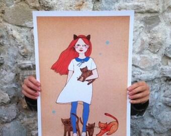 Sale Large print of Cat girl II