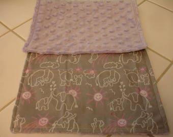 Elephants You Are My Sunshine in Pink Gray with Lavender Minky Baby Burp Cloth 9 x 20 READY TO SHIP
